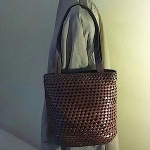 Fossil Brown Woven Leather Purse